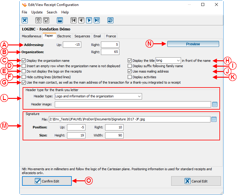 ProDonConfiguration of a Standard Type Receipt Logilys – Standard Receipt Format
